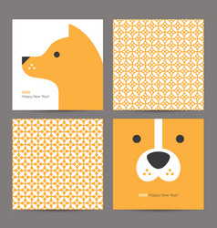 Chinese pattern and new year 2018 card with dog vector