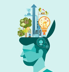 Ecology think green human mind vector