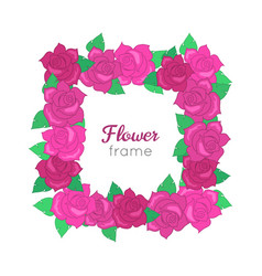 flower frame squar wreath of different blossoms vector image vector image