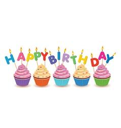 happy birthday cupcakes card vector image
