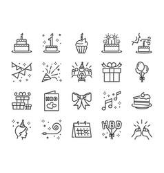happy birthday party line icon set vector image