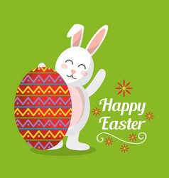 happy easter cute rabbit with big egg decorated vector image