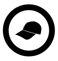 baseball cap black icon in circle isolated vector image