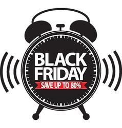 Black friday save up to 80 alarm clock black icon vector image
