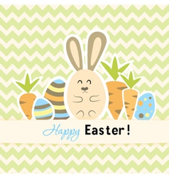 Easter green card with carrots and rabbit vector image