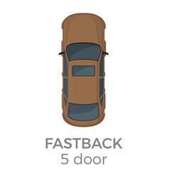 five doors fastback top view flat icon vector image