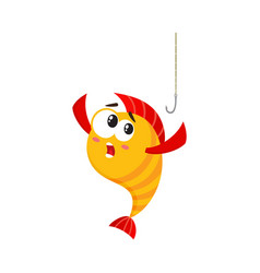 Funny golden yellow fish character with human vector