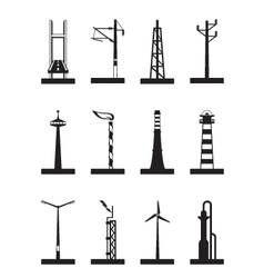 Industrial towers poles and chimneys vector image vector image