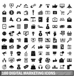 100 digital marketing icons set simple style vector