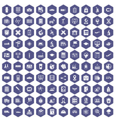 100 globe icons hexagon purple vector