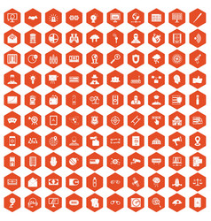 100 security icons hexagon orange vector