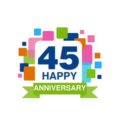 45th anniversary colored logo design happy vector