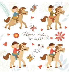 Adorable collection of cute little girls riding vector image