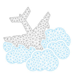 Aircraft falls into clouds polygonal frame vector