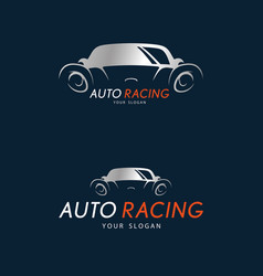 auto racing symbol on dark blue background vector image