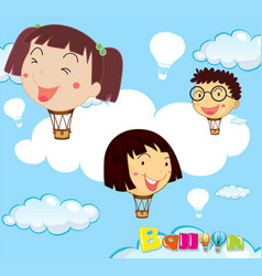 balloons with children head in the sky vector image