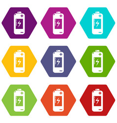 battery icons set 9 vector image