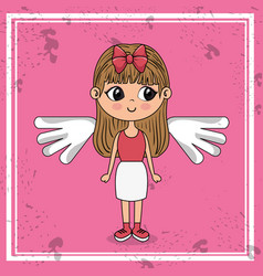 beautiful girl with wings kawaii character vector image
