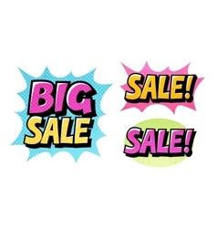 Big Sale set icons Comic text pop art style vector image