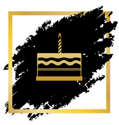 Birthday cake sign golden icon at black vector