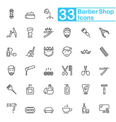 black barbershop outline icons vector image