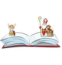 book sins is open - saint nicholas devil and a vector image