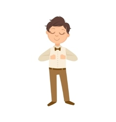 Boy In Brown Trousers And Bow Tie Happy Schoolkid vector