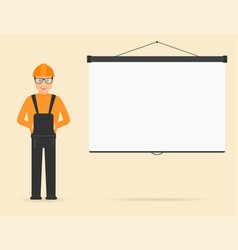 Builder in overall and in hard hat projection vector