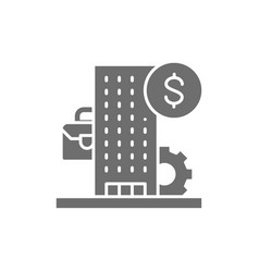 Business center bank financial institution grey vector