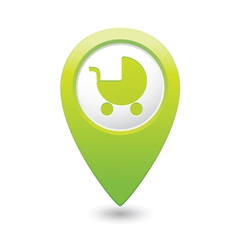 Carriage icon on map pointer green vector