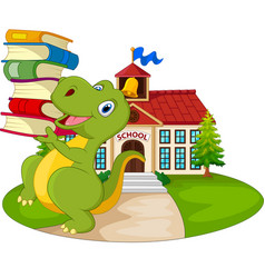 cartoon dinosaur carrying stack books vector image