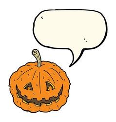 Cartoon grinning pumpkin with speech bubble vector