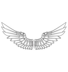 cartoon wings in black and white vector image