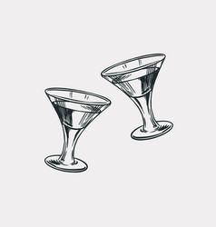 Cheers toast vintage american cognac or liquor vector