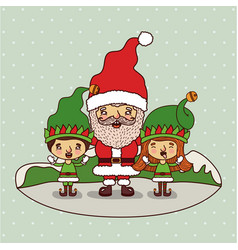 christmas card with santa claus and gnome kids on vector image