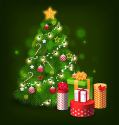 christmas tree with decoration presents holidays vector image