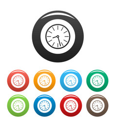 clock business icons set color vector image