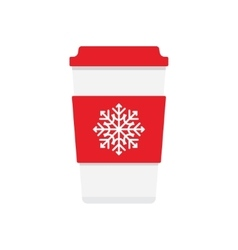 coffee cup icon with snowflake logo vector image