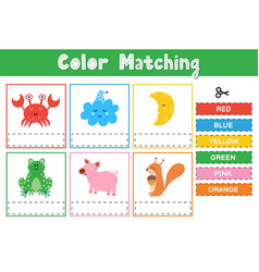 Cut and match colors educational game for vector