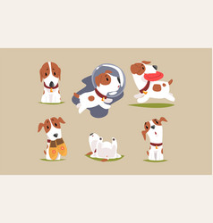 Cute beagle dog cartoon character collection vector
