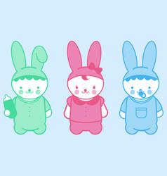 cute bunny babies vector image