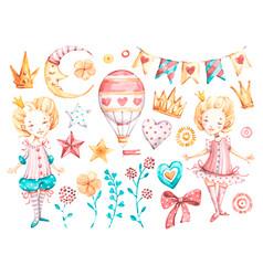 Cute princess baby girl watercolor nursery vector