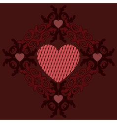 Dark red hearts ornament vector image