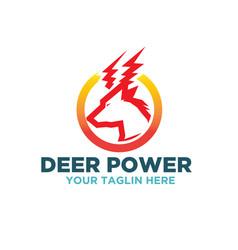 deer electric logo designs vector image