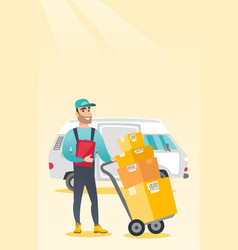 Delivery courier with cardboard boxes vector