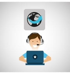 Delivery service concept call center worldwide vector