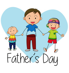 doodle father with children vector image