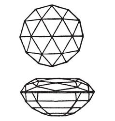 double brilliant cut gem vintage engraving vector image