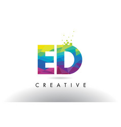Ed e d colorful letter origami triangles design vector