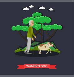 Elderly man walking dog vector